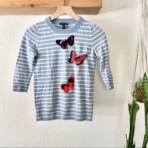 J. Crew stripped merino wool butterfly sweater